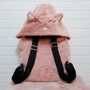 Rare pink faux fur backpack with kitty hoody